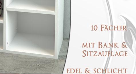 schuhbank f r 10 paar schuhe schuhregal schuhschrank regal bank mdf auflage wei ebay. Black Bedroom Furniture Sets. Home Design Ideas