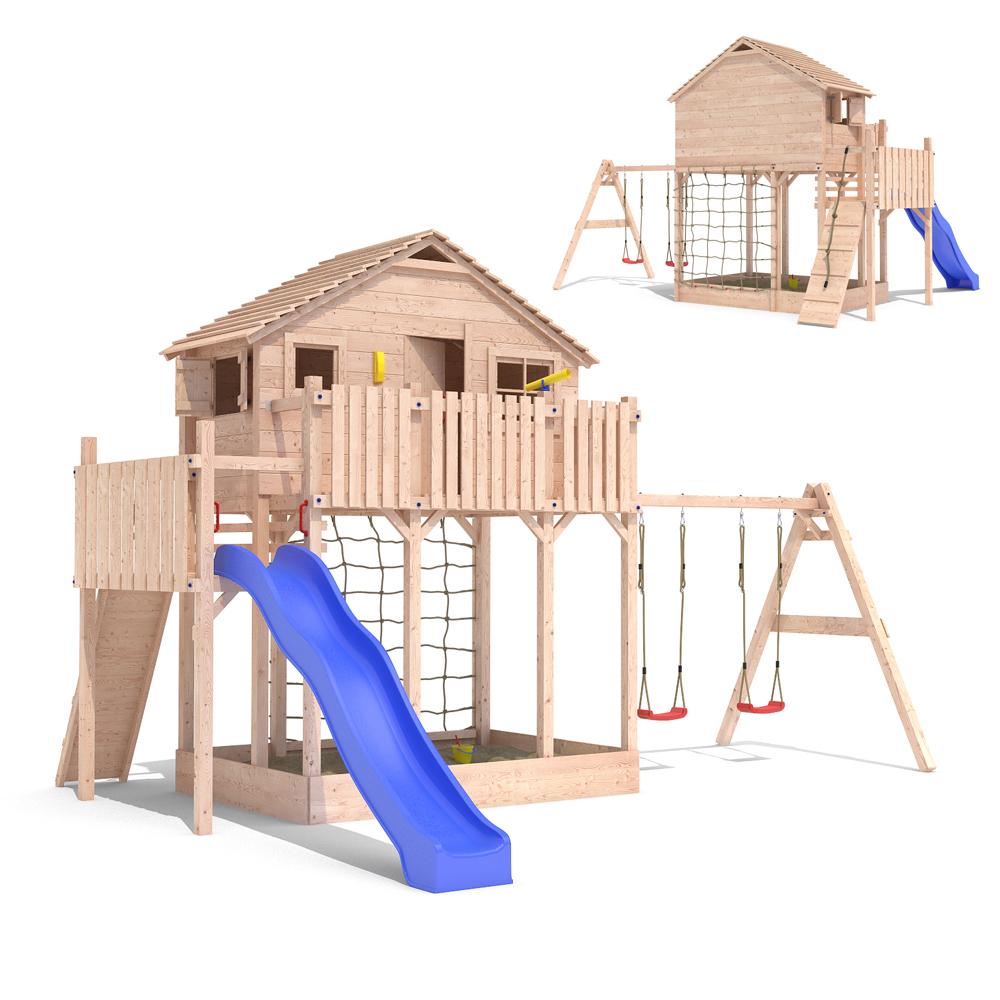 Interessant BAUMHAUS Spielturm Stelzenhaus Baumhaus Rutsche extra groß &amp  BH94